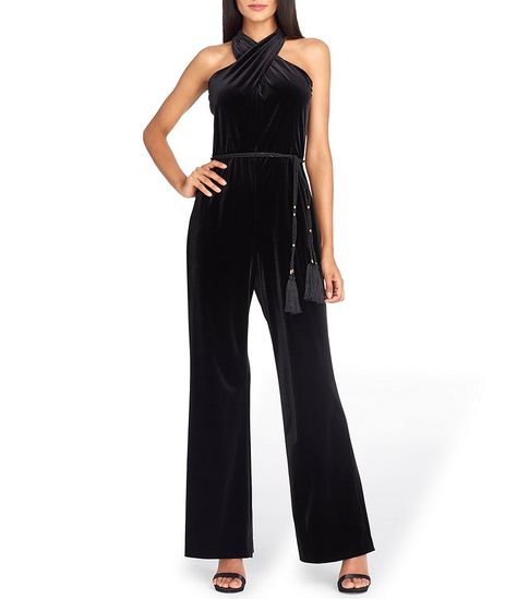 68eda27ed3c Tahari ASL Velvet High Criss-Cross Neckline Jumpsuit