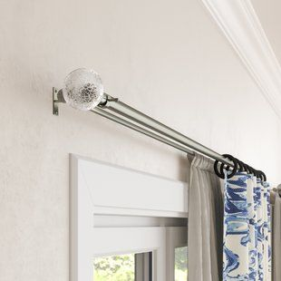 Red Barrel Studio Jerrie Single Curtain Rod Double Rod Curtains Double Curtains Curtain Rods