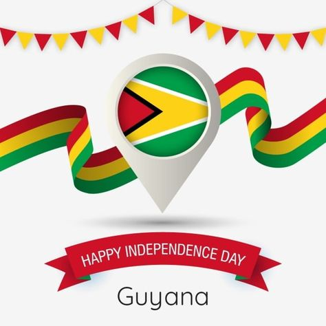 Guyana Independence Day With Stylized Country Flag Pin Illustration Guyana Happy Independence Day Flag Png And Vector With Transparent Background For Free Do Guyana Independence Day Happy Independence Day Happy Independence