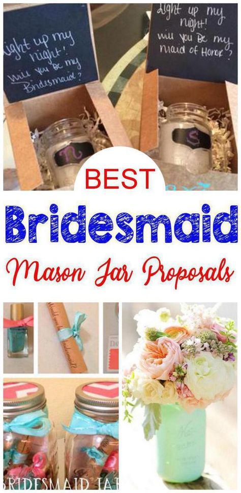 Mason Jar Bridesmaid Proposal! Find the best bridesmaid proposal ideas! From DIY ideas to box ideas to card ideas to kits to affordable to cheap to inexpensive you can find creative, unique, simple, easy and fun bridesmaid proposals. Great gifts for your feature bridal party - can be used as maid of honor proposals, junior bridesmaids and flower girl proposals too. Get the best mason jar Bridesmaid Proposal ideas now!