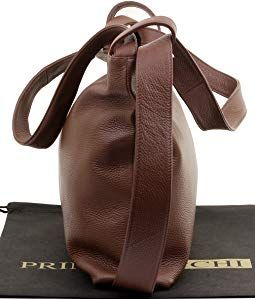 Primo Sacchi Ladies Italian Mid Brown Textured Leather Pack Schultertasche Tasche Rucksack Rucksac Incudes Bra Handtasche Rucksack Handtaschen Schultertasche