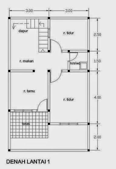 Denah Rumah Type 21 1 Lantai : denah, rumah, lantai, Denah, Rumah, Minimalis, Minimalis,, Rumah,