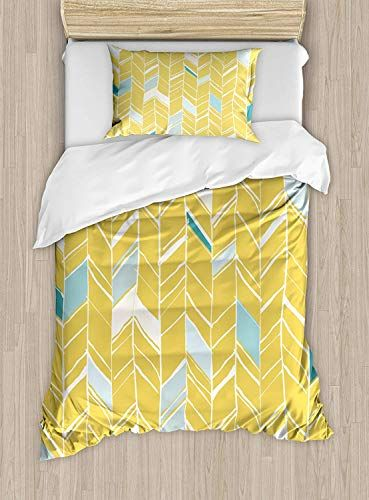 Big Buy Store Yellow Chevron Duvet Cover Herringbone Pattern Zig Zag Lines In Hand Drawn Doodle Art Style Deco Chevron Duvet Covers Chevron Duvet Bedding Set