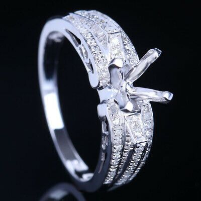 Ad Ebay Link Solid 10k White Gold Real Diamonds Semi Mount Engagement Rin In 2020 Sterling Silver Wedding Rings Wedding Ring 14k White Gold Diamond Rings With Price