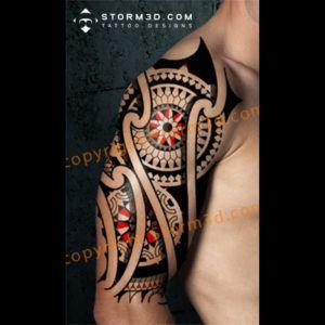 Maori Mandala Tattoo With Red Accents And Compass Tribal Polynesian Tattoo Designs Maori Tattoo Polynesian Tattoo Tattoos