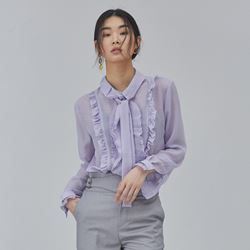 Woman Modern Frill Blouse - Purple