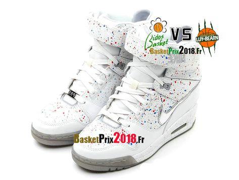 new arrival de1d6 1dbb5 Nike Air Revolution Sky Hi GS Blanc Argent Rouge Gris 633525-100 Chaussure  Montante Nike Pas Cher Pour Femme