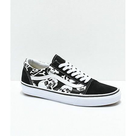 Vans Old Skool Skulls Black & White Skate Shoes | Zumiez | Vans ...