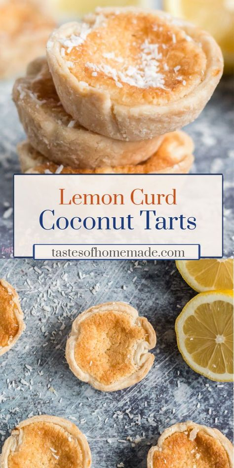 These tarts are made of a tangy lemon curd and coconut filling and are surrounded by a flaky, light pastry.  Made with simple ingredients, these tarts are fast and easy. #tarts #pastry #lemon #coconut #easy