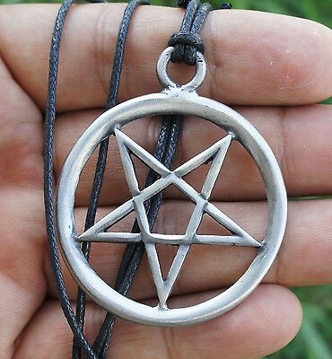 NEW PEWTER SATANIC INVERTED CROSS WITH SKULLS /& RED CRYSTAL PENDANT ADJ NECKLACE