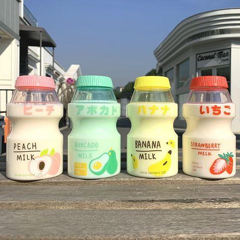 "Creative Fruit Plastic Water Bottle BPA Free Portable Leak Proof Travel Drinking Bottle for Kids Girl Anti-fall Water Cup"" Printed Water Bottles, Cute Water Bottles, Bpa Free Water Bottles, Drink Bottles, Japanese Drinks, Japanese Snacks, Japanese Pastries, Banana Milk, Strawberry Milk"