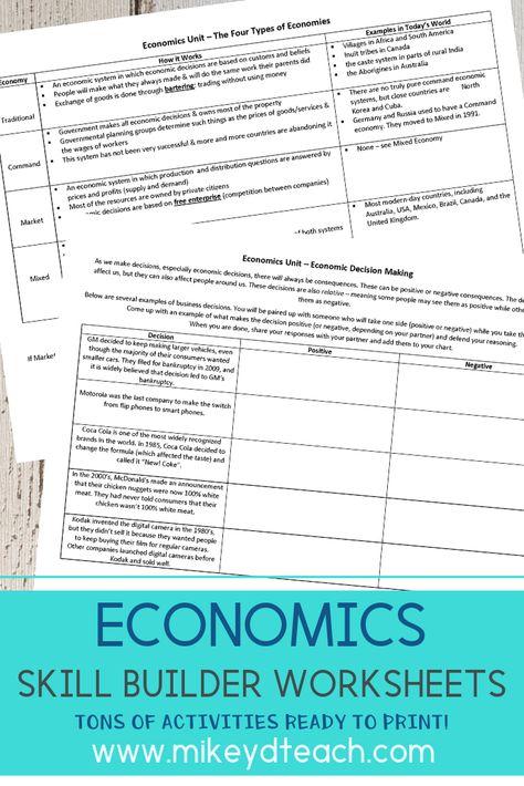 Economics Activity Pack Print Digital Distance Learning Middle School Economics Math Addition Worksheets Economics 7th grade economics worksheets