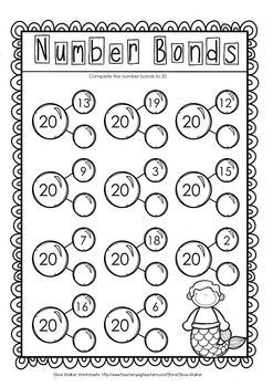 Making 20 Twenty Worksheets Printables Includes Number Bonds Kids Math Worksheets Number Bonds Worksheets First Grade Math Worksheets
