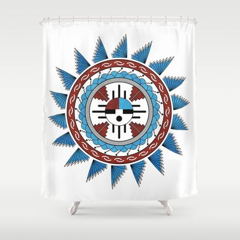 This Shower Curtain Features A Mandala With Art In The Style Of That Of United States Southwest Native Americans With A Color Scheme Of Rust Red Turquoise Blue