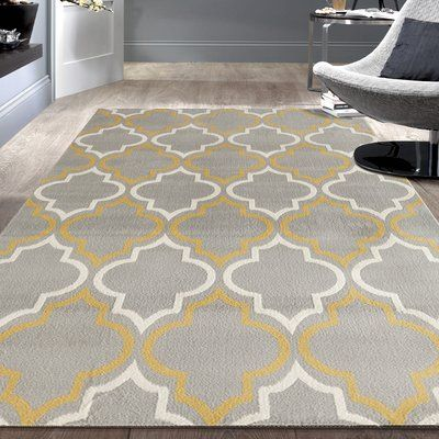 Charlton Home Freeman Gray Yellow Area Rug Yellow Area Rugs