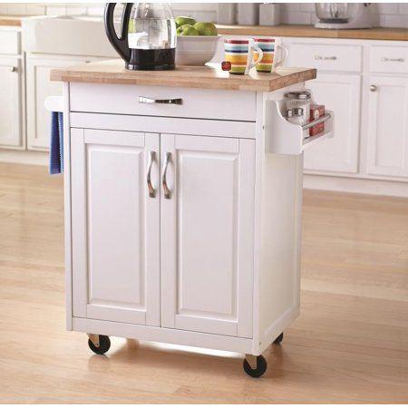 Mainstays Kitchen Island Cart White Walmart Com Small Kitchen Cart Kitchen Cart Kitchen Island Cart