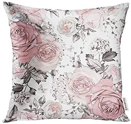 Amazon Com Golee Throw Pillow Cover Gray Abstract With Pink Flowers And Leaves On White Watercolor Floral Patter In 2020 Decorative Pillow Cases Throw Pillows Pillows