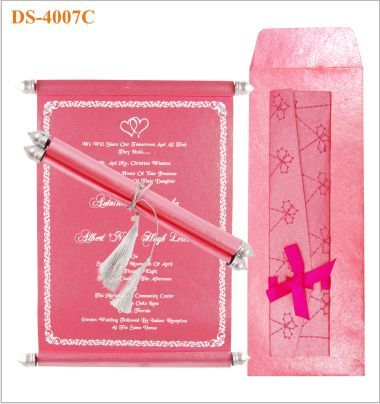 Indian Scroll Wedding Invitation In Coral And Silver