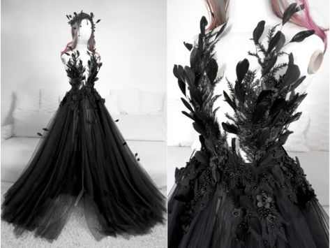 Mysterious Fern Flower Gown by Askasu Black Wedding Gowns, Dream Wedding Dresses, Ball Dresses, Ball Gowns, Prom Dresses, Pretty Dresses, Beautiful Dresses, Mode Kpop, Fantasy Gowns