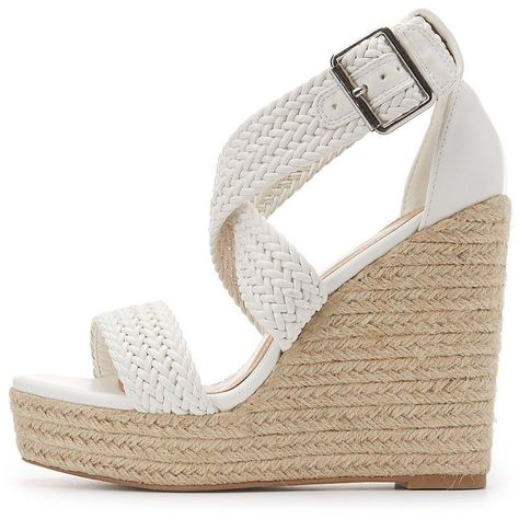 229ce18a3 Charlotte Russe Braided Espadrille Wedge Sandals ($25) ❤ liked on Polyvore  featuring shoes, sandals, white, white wedge shoes, strap sandals, wedge ...