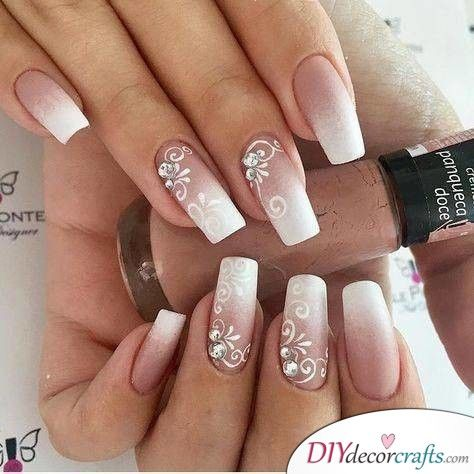 Ombre With Floral Decor Natural Wedding Nails For Bride Natural Wedding Nails Bride Nails Wedding Nails Design