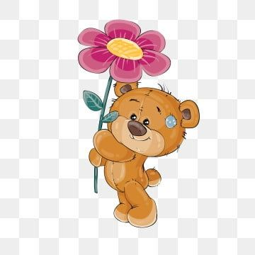 Vector Clip Art Art Illustration Of A Teddy Bear Holding A Pink Flower In The Paws Print Template Design Element Teddy Clipart Bear Teddy Png And Vector With Bear Art Illustration