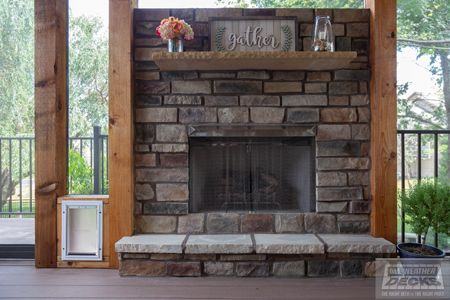 Gable Roof Over Deck Screened In Deck Fireplace In 2020 Patio Pictures Patio Oasis Ideas Patio