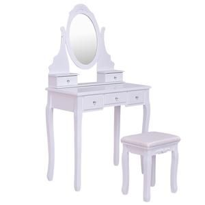 Outstanding 3 Drawer White Vanity And Stool Set Vanity Vanity Table Caraccident5 Cool Chair Designs And Ideas Caraccident5Info