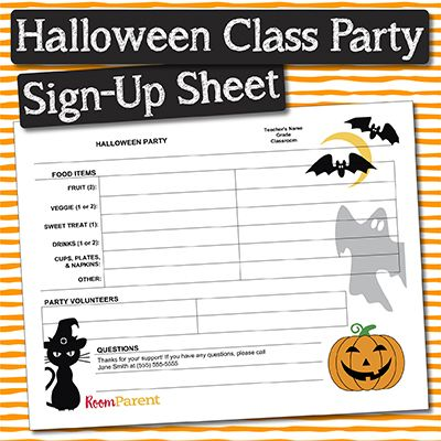 Halloween Classroom Party Sign Up Sheet Pto Today Halloween Class Party Halloween Classroom Classroom Party