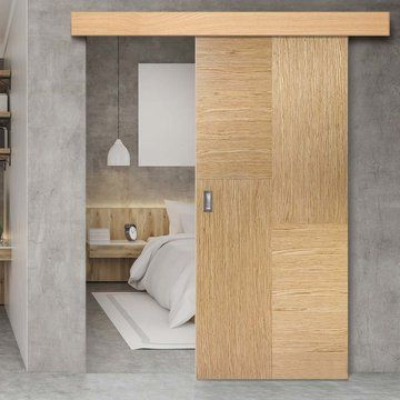 Bespoke Thruslide Surface Hermes Oak Flush Door Prefinished Sliding Door And Track Kit Lifestyl Contemporary Bedroom Contemporary Stairs Contemporary House