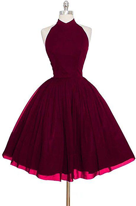 Vickyben Damen Kurz Halter Abendkleider Ballkleid Abiballkleid Party Kleid Tanzen Kleid Amazon De Bekleidung Kleider Kleidung Ballkleid