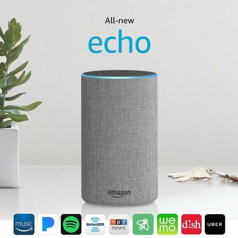 Amazon - Echo (2nd Gen) - Smart Speaker with Alexa - Heather Gray ...