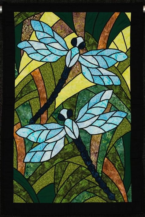 Dragonflies in my Garden by Janice Willits. Stained glass dragonflies.  NQA 2014 Quilt Show