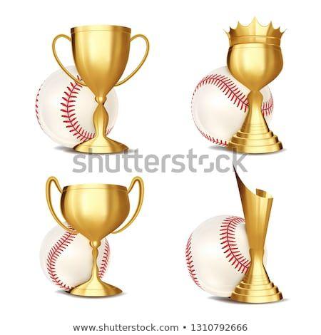 Baseball Game Award Set Vector Baseball Ball Golden Cup Modern Baseball Tournament Design For Sport Promotio Baseball Tournament Baseball Games Sport Event