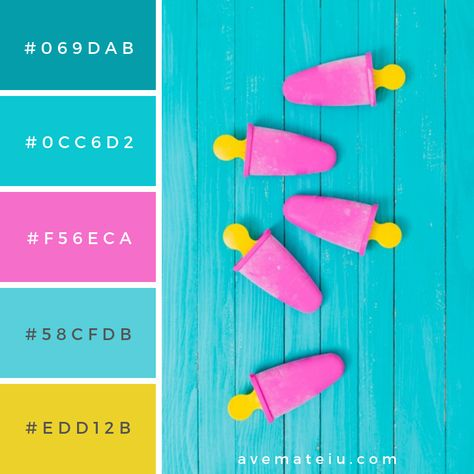 Pink popsicle on yellow sticks on wooden surface Color Palette