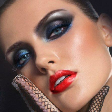 Black And Blue Eyeshadow And Red Lipstick