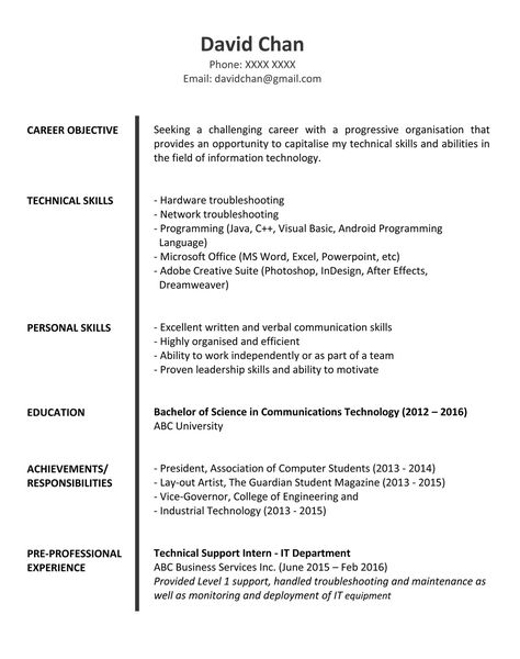 Sample Resume for Fresh Graduates IT Professional img - visual basic programmer sample resume