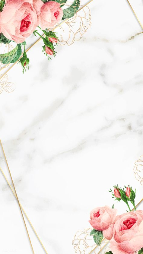 Golden floral marble frame vector   premium image by rawpixel.com / Chayanit