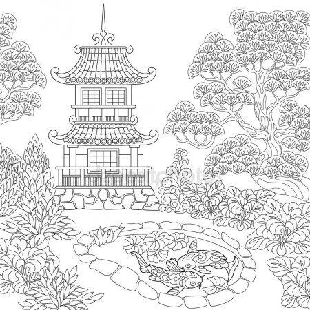 Pagoda Estilizada Zentangle Ilustracion De Stock Malarbocker For Vuxna Malarbocker Malarbok