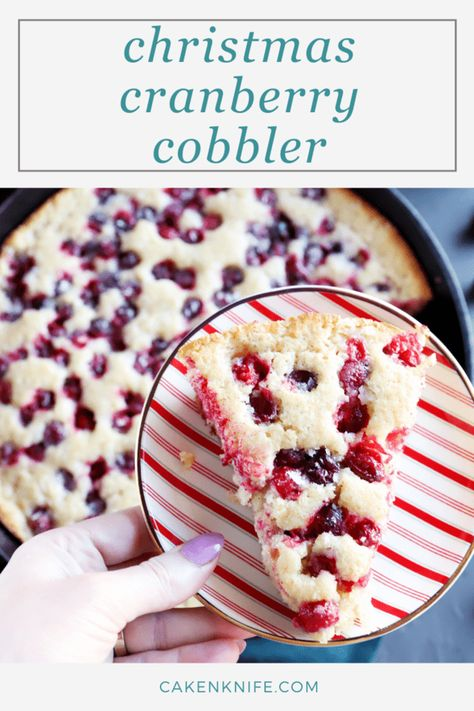 Christmas Cranberry Cobbler is a great dessert on Christmas Eve that tastes even better leftover on Christmas morning. The extra sugared cranberries on top give this cobbler a sweet and tart flavor, plus the crystalized sugar that forms after baking gives it just the right amount of texture. | cakenknife.com #breakfastrecipe #christmasrecipe #christmascobbler #cobblerrecipe #cranberryrecipe