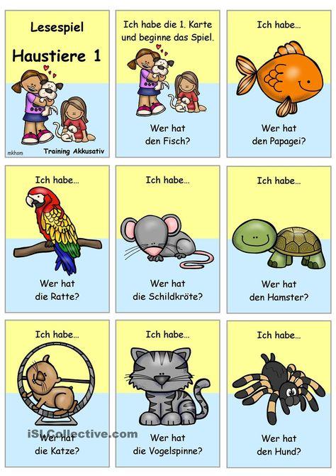 Lesespiel 1 Haustiere Ich Habe Wer Hat Lesespiele Deutsch Lernen Spiele Haustiere