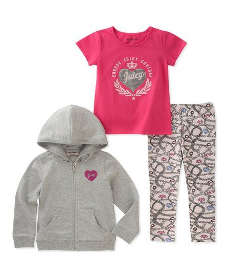 Juicy Couture Gray Royal Heart Zip Up Hoodie Set Infant Girls Zulily Baby Couture Juicy Couture Baby Cute Baby Girl Outfits