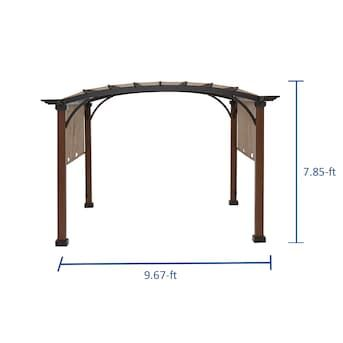 Allen Roth 9 Ft 8 In W X 9 Ft 8 In L X 7 Ft 10 3 4 In Tan Black Metal Freestanding Pergola With Canopy Lowes Com In 2020 Pergola Canopy Pergola Patio Canopy