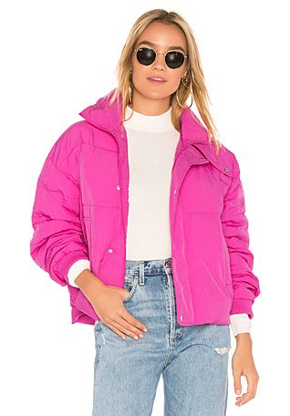 a5d1b6bc9 Free People Slouchy Cropped Puffer Coat in Pink   REVOLVE   Fashion ...