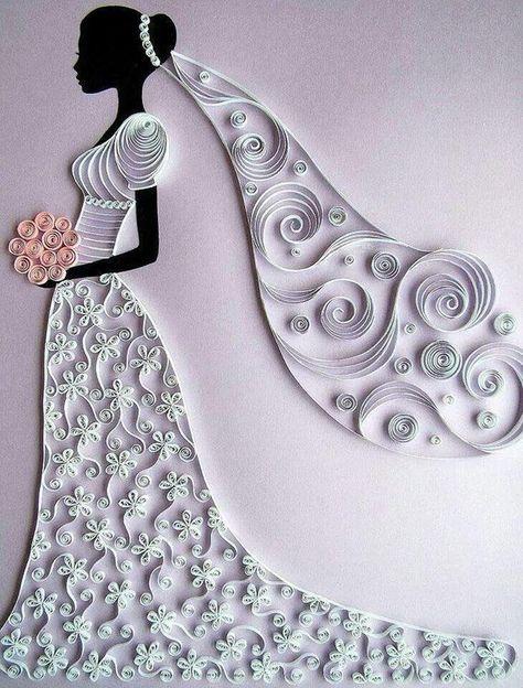 fiche pas à pas pour quilling modèle mariée, robe de mariée, mariage feuille de 21 cm * 29.7 cm. avec modèle en couleur et en noir et blanc su papier très épais le motif est à la taille 21 cm * 29,7 cm permet daider et de réaliser pas à pas son motif. parfait pour les enfants ou les