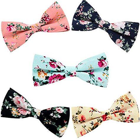 Men's Ties, Cotton Floral Print Slim Skinny Ties for Groom, Groomsmen Neckties Wedding Costume Accessories (5 Pack) | Jodyshop