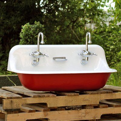 Kohler High Back 36 Antique Inspired Kohler Farm Sink Incarnadine Red Cast Iron Porcelain Trough Sink Package Farm Sink Antique Bathroom Sink Trough Sink