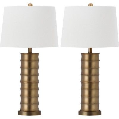 Set Of 2 28 5 Linus Column Table Lamp Gold Includes Cfl Light Bulb Safavieh Table Lamp Sets Gold Table Lamp Table Lamp