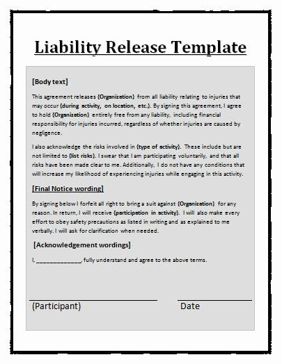 40 General Release Form Template Liability Waiver Templates