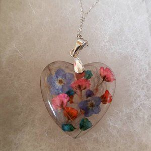 Blue Hoop Pendant Choker With Real Flowers Dried